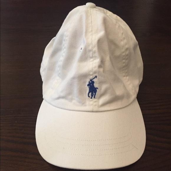 RL Polo Ballcap- White Cream with Blue Horse Logo 67c79ac9e638
